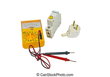 Yellow multimeter on white background