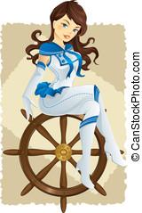 excitado, alfinete, cima, marinheiro, menina
