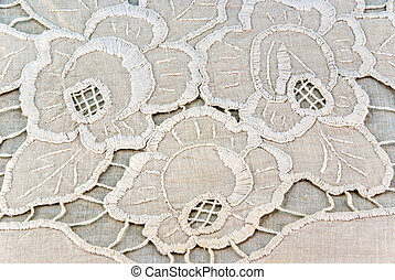 handicraft embroidery - detail of embroidered napkin