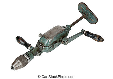 hand drill - vintage hand drill isolated on a white...