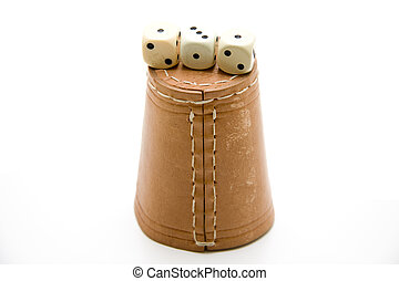 Dice cup with cube