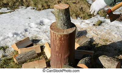 axe and firewood log - axe and spring firewood log