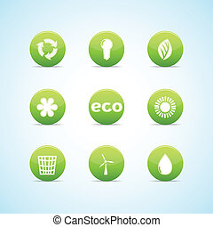 Ecology icon set for green design