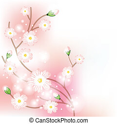 Colorful background with tree blossoming brunch. Vector...
