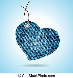 Denim gift tag on blue background Vector illustration