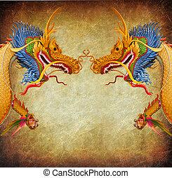 dragão, retro, fundo
