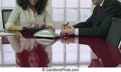 Teamwork with businessman and woman - Conference call with...