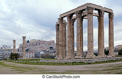 restos, Olympieion, templo, acrópolis, Plano de fondo