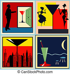 Retro Cocktail labels - A set of Retro Cocktail...