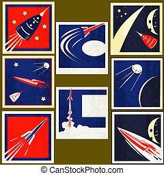 Retro Space Rockets Vintage Labels - A set Vintage Labels...