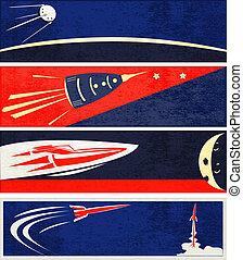retro, espaço, teia, bandeiras