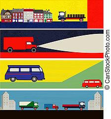 Retro Auto Delivery Web Banners - A set of Retro Auto...