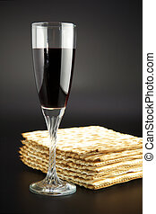 Jewish religious feast Passover traditional food Matza and...