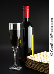 Jewish religious feast Passover traditional food Matza and red wine