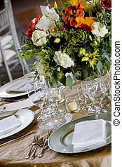 Table set for a catered event - details from a wedding Table...