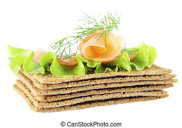 Salmon sandwich on a white background