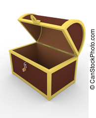 Open chest - Open empty chest. Safety and security concept