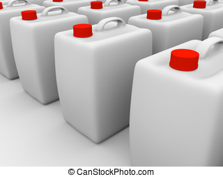 plastic gallons - Plastic gallons in white with red caps 3d...