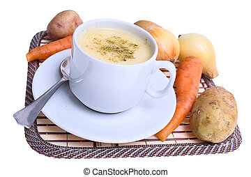 Soup with vegetables on a stand isolated on white background.