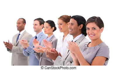 Well-dressed people applauding against a white background