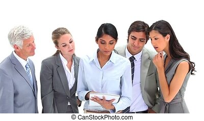 Business team working together against white background