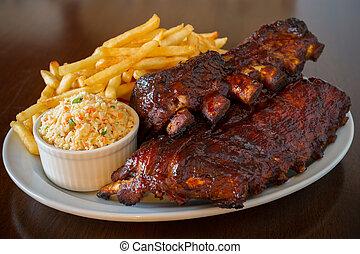 Cerdo, costillas, espalda, comida