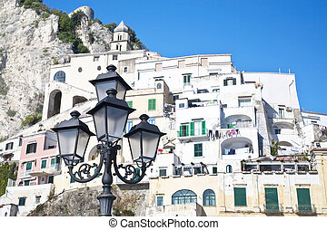 Amalfi Lightpost - Old fashioned lights in front of the town...