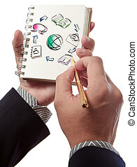 Business man writing collaboration diagram on book