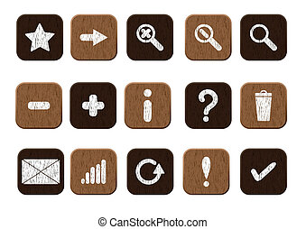 wooden icons set white - Basic set of 15 wooden icons Vector...