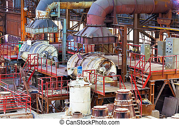 Foundry equipment in casting hangar of metallurgical plant -...