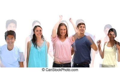 Young people jumping up against a white background