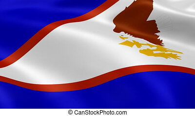 American Samoan flag in the wind. Part of a series.