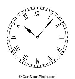 Roman clean clock face - Black and white clock face with...