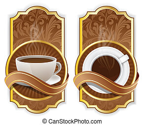 Coffee label - Brown background with coffee label and wave
