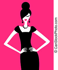 Fashion Model - Illustration of a fashion model posing in an...