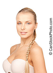 beautiful woman in bra - bright closeup portrait picture of...