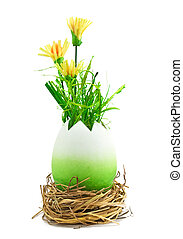 painted easter egg with a yellow flowers
