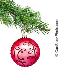 Red ornament christmas ball in a fir tree on a white...