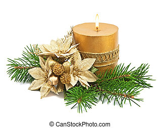 Christmas decoration with candles and poinsettia on white
