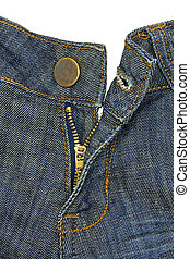 Blue jeans, button and fly