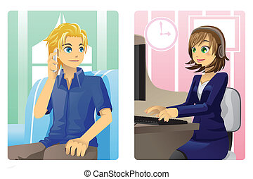 Customer service - A vector illustration of a customer and a...