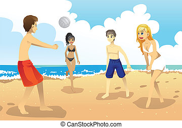 Young people playing volleyball - A vector illustration of a...