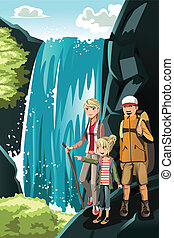 Hiking family - A vector illustration of a family going...
