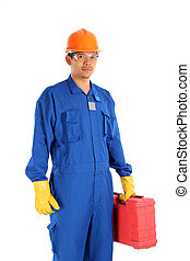 confident positive manual asia worker ready to work isolated on white background