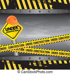under construction background, road sign vector