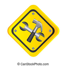 road sign - tools over yellow road sign isolated . vector...