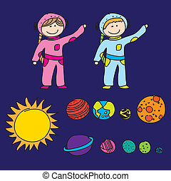astronauts with planets