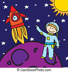 astronaut - child astronaut over purple planet with rocket....