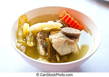 Tailandês, alimento, sopa