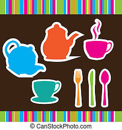 cute crockery over brown background vector illustration